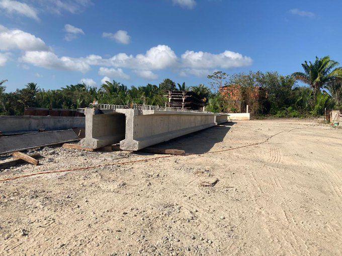 Construção da ponte em Cumbique, no município de Raposa (Foto: Divulgação)