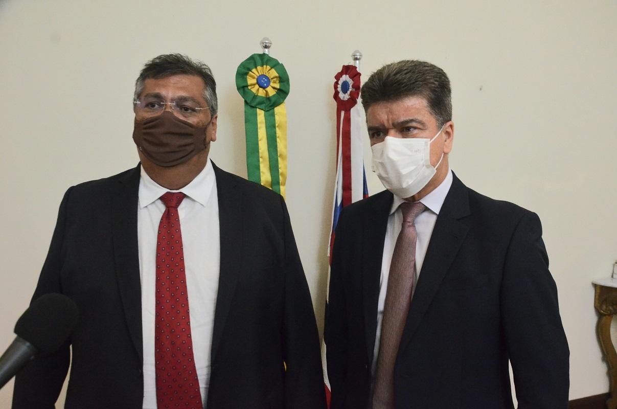 Flávio Dino e Deoclides Macedo se reuniram nesta quinta-feira no Palácio dos Leões (Foto: Nael Reis)